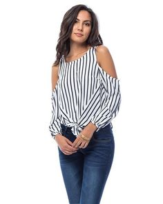 Navy Striped tie up blouse with Peekaboo shoulders