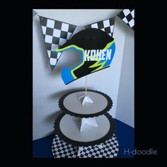 Items similar to Dirt Bike Motocross Cup Cake Stand Race Tires Helmet Biker on Etsy Motocross Birthday Party, Bike Birthday Parties, Dirt Bike Birthday, Aries Birthday, 4th Birthday, Birthday Ideas, Monster Truck Birthday, Monster Trucks, Dirt Bike Party