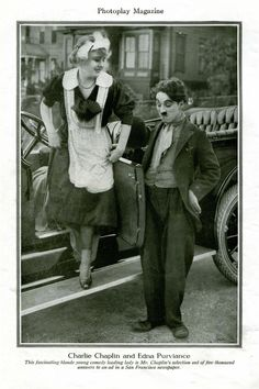 """Edna Purviance & Charlie Chaplin, interesting publicity photo for his Essanay short film: """"Work"""" Vevey, Old Hollywood Movies, Golden Age Of Hollywood, Classic Hollywood, Hollywood Actresses, Charlie Chaplin, Edna Purviance, Charles Spencer Chaplin, Abbott And Costello"""