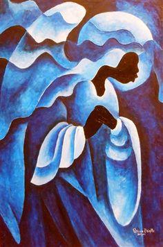Adoring Angel, (acrylic on canvas), Brintle, Patricia / Private Collection / Bridgeman Images Framed Prints, Canvas Prints, Art Prints, Haitian Art, Caribbean Art, Folk, Tropical Art, Artists Like, Figurative Art