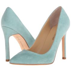 Ivanka Trump Carra (Dark Mint) High Heels ($135) ❤ liked on Polyvore featuring shoes, sandals, leather sole shoes, mint sandals, mint shoes, ivanka trump shoes and slip-on shoes