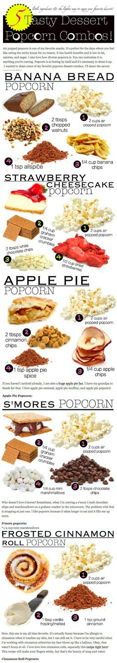 Delicious popcorn sweet popcorn recipes based on banana bread, s'mores, cinnamon rolls and more! Popcorn Snacks, Flavored Popcorn, Gourmet Popcorn, Popcorn Recipes, Snack Recipes, Cooking Recipes, Dessert Recipes, Sweet Popcorn, Popcorn Balls