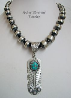 Schaef Designs Morenci Turquoise & Sterling Silver Feather Pendant | New Mexico