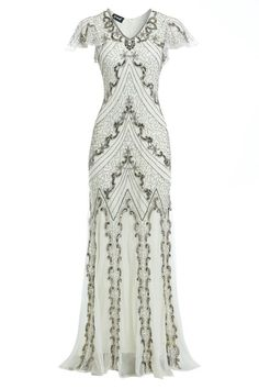 Elegant long evening dress,with diamond neck line, exclusive hand made using seq. 1920s Evening Dress, Evening Dresses Plus Size, 1920s Dress, Evening Gowns, Edwardian Dress, 20s Dresses, Vintage Dresses, Dresses With Sleeves, Flapper Dresses