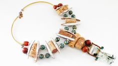 Statement necklace handmade from wine corks, mother of pearl, brass hardware and glass beads Handmade Necklaces, Handmade Jewelry, Unique Words, Confident Woman, Beautiful One, Brass Hardware, Statement Jewelry, Wearable Art, Glass Beads