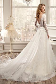 Robe de mariée droite en dentelle avec tulle de dos nu