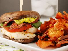 Portabella Sandwich and Sweet Potato Chips