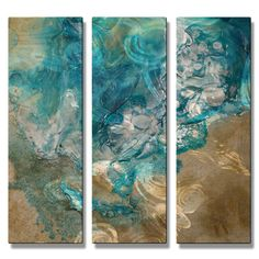 All My Walls 'Lively Tide Pool' by Kelli Money Huff 3 Piece Original Painting on Metal Plaque Set