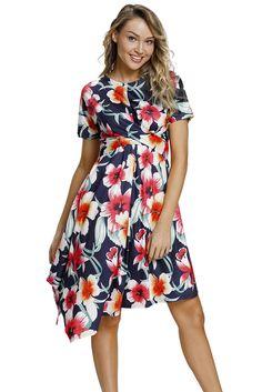 2b60062dd2 Boho dresses · US$ 8.63-Navy Floral Print Twist Front Handkerchief Hem Dress  Dropshipping Womens Navy Blue