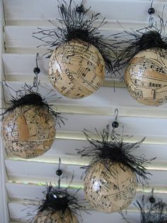 "sheet music with eye.""alt=""Decoupage sheet""/></br></br>Decoupage sheet music with eyelash yarn</br> Christmas Ornaments To Make, Noel Christmas, How To Make Ornaments, Rustic Christmas, Christmas Projects, Holiday Crafts, Sheet Music Decor, Sheet Music Ornaments, Sheet Music Crafts"