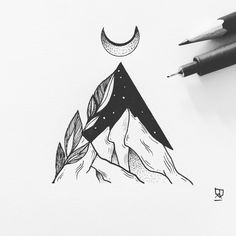 tattoo easy drawings pen tattoos simple sketch mountains drawing designs sketches illustrator draw mountain move pencil minimal moon blackwork illustration