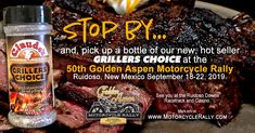 We're heading to the Golden Aspen Motorcycle Rally in beautiful Ruidoso, New Mexico! Brisket Marinade, Bbq Brisket, Bloody Mary Mix, Motorcycle Rallies, Grilling Ideas, Refried Beans, Aspen, Rally