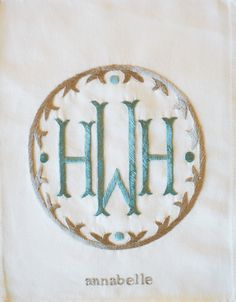 Monogram style, i like the color combo for fever monogram, monogrammed linens sheets, Embroidery Monogram, Embroidery Fonts, Embroidery Applique, Machine Embroidery, Embroidery Designs, Monogram Design, Monogram Styles, Monogram Fonts, Circle Monogram