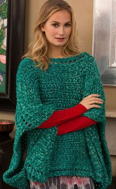 Free knitting pattern for Boat Neck Poncho - Beginner pattern in super bulky yarn. This easy beginner pattern by Cathy Payson for Red Heart features super bulky yarn, a simple shape and easy stitch pattern to make a quick fashion statement. Beginner Knitting Patterns, Poncho Knitting Patterns, Knitted Poncho, Easy Knitting, Knitting For Beginners, Loom Knitting, Crochet Shawl, Knit Patterns, Knit Crochet