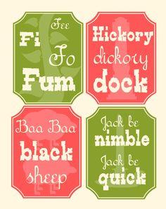Nursery Rhyme Mother Goose Typography Digital Print