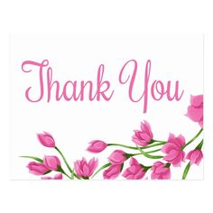 Shop Floral Pink And White Thank You Fuchsia Flowers Postcard created by merrybrides.