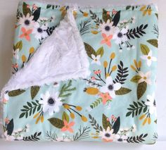 Floral Flowers Spring Blooms Baby Girl Minky Blanket-Coral Mint-Designer Fabric-Baby Shower Gift-Crib Bedding-Modern Girly Nursery