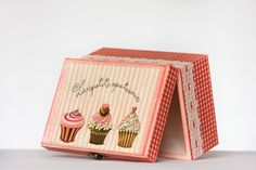 Cupcake Picnic Box Gingham Box Cottage chic Chest by BeauMiracle, $38.00    These chests have so many uses. Hide your treasures, organize supplies, store your kitchen supplies or cupcakes or just keep special memories. Painted in pink with cupcakes decoupaged on the top. The whole box is surrounded by gingham plaid napkin and white lace which gives this gorgeous finishing touch.
