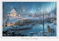 Home Sweet Home - Holiday Greeting Cards-The Office Gal Send this gorgeous winter scene with the aurora borealis shining in the background and iridescent snowflakes sprinkling across the top. This card is framed in iridescent silver foil and Holiday Greetings imprinted in the same foil.
