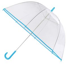 Clear transparent  vinyl bubble umbrella with 190T nylon trim. Look up at the rainy sky with no fear; our Clear Umbrella is a unique choice for those looking for an alternative promotional product. A 47 inch arc is big enough for two, and black, royal and pink trims accent your clientele's logo.Promotional umbrella for the rain, wind, schools, hospital, hotels, banks, health care, trade show, beach, summer camps, trips, gift, sports.  Decoration Options: BLANK ONLY