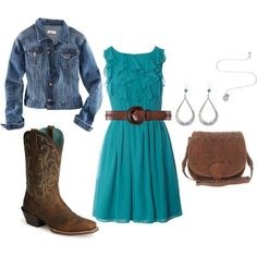 Teal ruffled dress, blue Jean jacket, Brown cowboy boots, brown clutch, Brown leather belt and earrings and necklace. Rodeo Outfits, Country Outfits, Western Outfits, Cute Summer Outfits, Cute Outfits, Teal Outfits, Country Fashion, Country Chic, Country Life