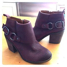 LUCKY BRAND ANTIQUED WINE LEATHER BOOTIES These are Brand New,Gorgeous little boots,with buckle accents,inner zips,and the pretty leather looks aged and oiled,with stacked heelsNo box Lucky Brand Shoes Ankle Boots & Booties