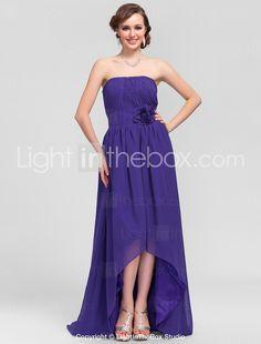A-line Strapless Asymmetrical Chiffon Bridesmaid Dress - USD $ 129.99