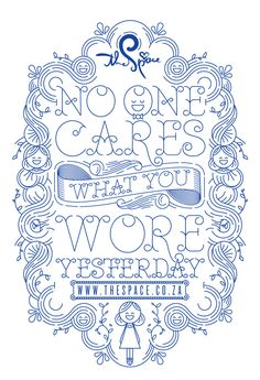 NO ONE CARES WHAT YOU WORE YESTERDAY - BAG DESIGN by Hylton Warburton, via Behance