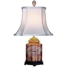 Gold Satsuma Scalloped Porcelain Tea Jar Table Lamp