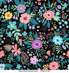 Amazing floral pattern with bright colorful flowers, plants, branches and berries on a black background. The elegant the template for fashion prints.