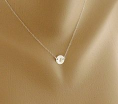 Custom Initial Necklace Solitary Tiny Disc Charm by hotmixcold, $24.00... I want this!