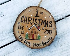 Wood Slice Christmas Ornament Baby Birth Announcement Time, Date, Weight, Baby Birthday Floral Baby birth information Ornament Made to Order Family Christmas Ornaments, Baby Ornaments, Wooden Ornaments, Personalized Christmas Ornaments, Christmas Wood, Christmas Animals, How To Make Ornaments, Homemade Christmas, Christmas Crafts