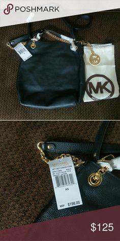 "Michael Kors Jet Set Chain Shoulder Tote Medium Tote Messenger Black Leather with long shoulder strap gold toned hardware 10""x12""x3 Michael Kors Bags"