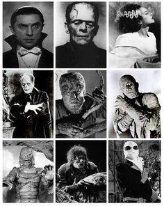 (dracula,frankenstein,bride of frankenstein,phantom of the opera,the wolfman,the mummy,creature from the black lagoon,the hunchback of the notre dame,the invisible man)