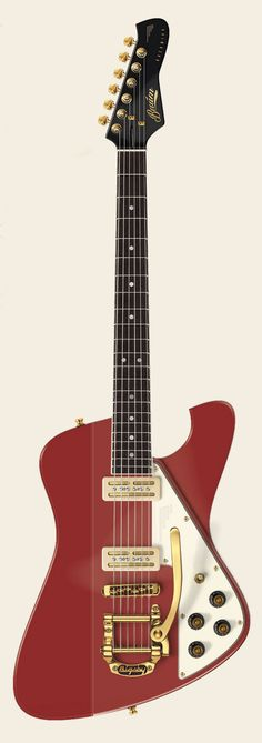 Baum Backwing Custom in deep red with gold hardware and Bluesstack creme pickups