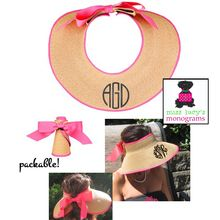 Monogrammed Straw Visor with Ribbon Trim - Hot Pink