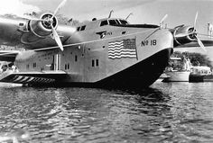 Pan American's Boeing 314 Clipper at her base at Pearl Harbor after arriving from Alameda, California in 1940.