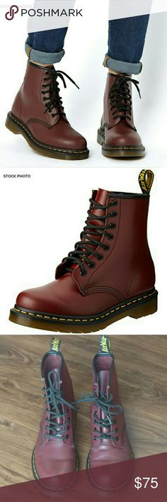 DOC/DR. MARTEN Cherry Red 8 Eyelet 1460 Boot DOC MARTEN CHERRY RED SMOOTH ORIGINAL BOOT.  THE 1460 IS THE ORIGINAL DR. MARTENS BOOT.  ITS BOOT'S RECOGNIZABLE DNA LOOKS LIKE THIS: 8 EYES, CLASSIC DR. MARTENS SMOOTH LEATHER, GROOVED SIDES, A HEEL-LOOP, YELLOW STITCHING, AND A COMFORTABLE, AIR-CUSHIONED SOLE.  WORN INSIDE ONLY A COUPLE TIMES.  SOME RESIDUE ON INSIDE FROM STORE STICKERS.  MINOR VARIATIONS/DISCOLORATIONS IN LEATHER PRODUCT.  SOLE MARKED WITH SHARPIE.  OTHERWISE EXCELLENT…