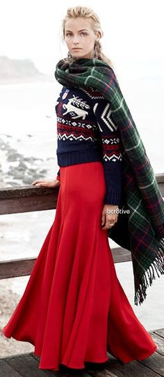 @roressclothes clothing ideas #women fashion Ralph Lauren red skirt  Label Winter Glamour: