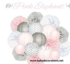 PINK ELEPHANT Deluxe Party Decorations - Paper Lantern & Tissue Pom Kit - Pink, Gray Chevron, Dove Gray, White - Birthday Party, Baby Shower - http://www.babydecorations.net/pink-elephant-deluxe-party-decorations-paper-lantern-tissue-pom-kit-pink-gray-chevron-dove-gray-white-birthday-party-baby-shower.html