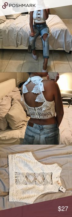 NWT Beautiful lacey crop top Use this elegant crop top for classy as well as semi-formal and casual occasions✨ BRAND NEW WITH TAGS. 100% polyester Luxxel Tops Crop Tops