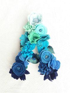 Your place to buy and sell all things handmade Felt Crafts Diy, Felt Diy, Teal Flowers, Diy Flowers, Ocean Nursery, Nursery Decor, Flower Letters, Tissue Paper Flowers, Flower Wall Decor