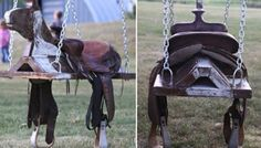 The WHOot Horse Saddle Swing<br> Recipes, DIY, Craft, Gardening, Crochet and Kids activities. Tire Horse Swing, Saddle Swing, Diy Tire Swing, Skateboard Swing, Yard Swing, Saddle Rack, Bowling Ball Ladybug, Outdoor Projects, Outdoor Decor