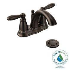 MOEN Brantford 4 in. Centerset 2-Handle Low-Arc Bathroom Faucet in Oil Rubbed Bronze with Metal Drain Assembly-6610ORB - The Home Depot  $117
