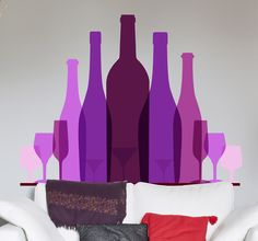 A modern and original feature of a collection of purple and pink wine tone bottles. Design from our collection of purple wall stickers. Ideal for adding a splash of colour to any setting.   #wine #stickers #bottle #original #colorful #decoration #home #kitchen #tenstickers #ideas #DIY #fancy #gastronomy