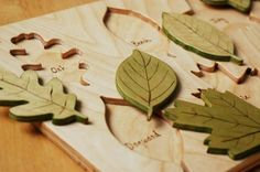 Wooden leaf puzzle.  Love wooden toys. Wish I could find one with leaves of Australian trees!
