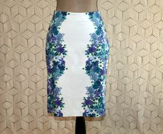 White Purple Floral Skirt Pencil Skirt Cotton Midi Small Day