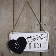 """Romantic Days Until """"I DO"""" Wood Board Wedding Sign Blackboard with Heart-Shaped Hanging Plaque Gifts Marriage Party Supplies #Affiliate"""