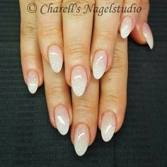 Pink & White Babyboom Ombre Glitter Nails ❤