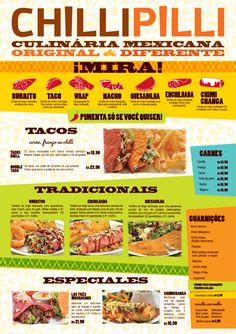"""ChiliPilli    DESIGNED BY KONGREX.    """"This is a Mexican restaurant in Brazil, so they've drawn distinguishable enchilada and chimichanga icons to help diners understand what they are taco-ing about."""""""